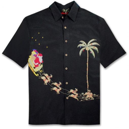 Men's Bamboo Cay Short Sleeve Embroidered Limited Addition Christmas Shirt, Santa's Landing #SN4444 Black