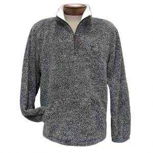Men's Basic Options Long Sleeve Canyon Fur Two Sided Plush Fleece Mock Neck Pullover #81817-1 Black Heather (XL, ONLY!)