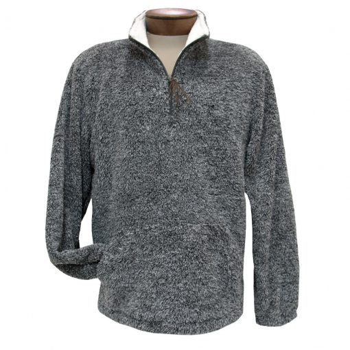 Men's Basic Options Long Sleeve Canyon Fur Two Sided Plush Fleece Mock Neck Pullover #81817-1 Black Heather