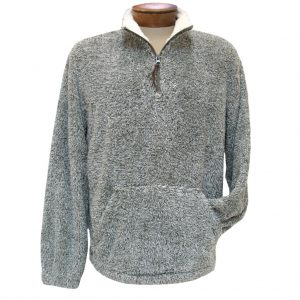 Men's Basic Options Long Sleeve Canyon Fur Two Sided Plush Fleece Mock Neck Pullover #81817-7 Brown Heather