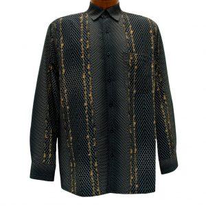 Men's Bassiri Long Sleeve Button Front Pocketed Microfiber Sport Shirt #6208 Black