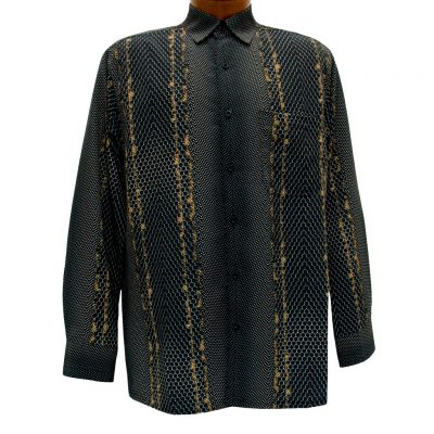Men's Bassiri Long Sleeve Button Front Pocketed Microfiber Sport Shirt #6208 Black