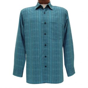 Men's Bassiri Long Sleeve Button Front Pocketed Microfiber Sport Shirt #6216 Teal Blue (SOLD OUT!)