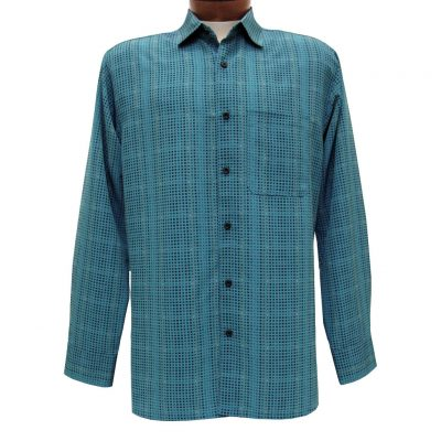 Men's Bassiri Long Sleeve Button Front Pocketed Microfiber Sport Shirt #6216 Teal Blue