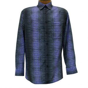 Men's Bassiri Long Sleeve Button Front Pocketed Microfiber Sport Shirt #6244 Black/Purple