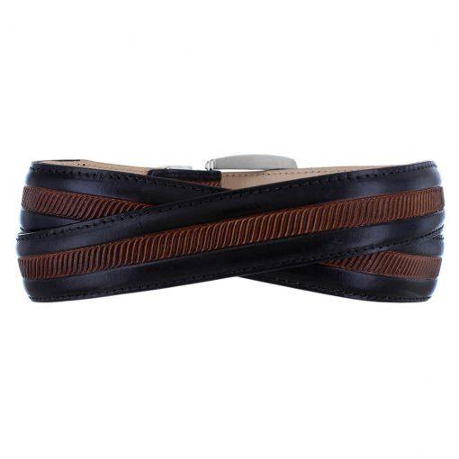 Men's Leather Two-Tone Belt By Brighton, Hudson #M41053 Black/Brown