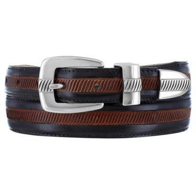 Men's Leather Two-Tone Belt By Brighton, Hudson #M41053 Black/Brown