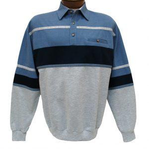 Men's Classics – LD Sport By Palmland Long Sleeve Tailored Collar Horizontal Pieced Banded Bottom Shirt #6094-736 Blue Heather