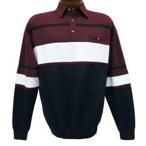 Men's Classics – LD Sport By Palmland Long Sleeve Tailored Collar Horizontal Pieced Banded Bottom Shirt #6094-736 Burgundy