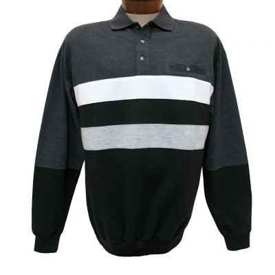 Men's Classics - LD Sport By Palmland Long Sleeve Knit Collar Horizontal Pieced Banded Bottom Shirt #6198-210 Charcoal Heather