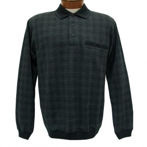 Men's Classics – LD Sport By Palmland Long Sleeve Knit Collar Jacquard Banded Bottom Shirt #6096-200 Black