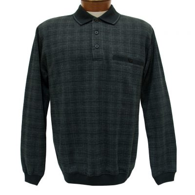Men's Classics - LD Sport By Palmland Long Sleeve Knit Collar Jacquard Banded Bottom Shirt #6096-200 Black