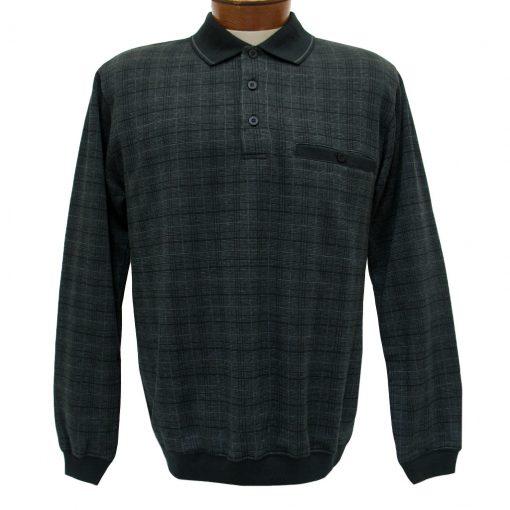 Men's Classics - LD Sport By Palmland Long Sleeve Knit Collar Jacquard Banded Bottom Shirt #6096-200 Black