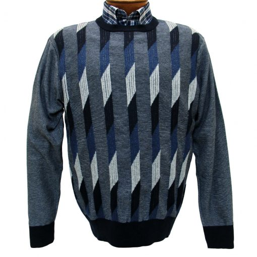 Men's F/X Fusion Long Sleeve Vertical Parallelogram Crew Neck Sweater #953 Blue Heather