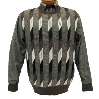Men's F/X Fusion Long Sleeve Vertical Parallelogram Crew Neck Sweater #953 Brown Heather
