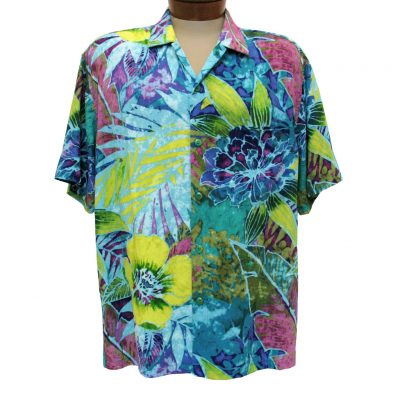 Men's Jams World Short Sleeve Original Crushed Rayon Retro Aloah Shirt, Rain Tropic