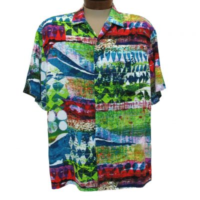 Men's Jams World Short Sleeve Original Crushed Rayon Retro Aloah Shirt, Tribal Reef