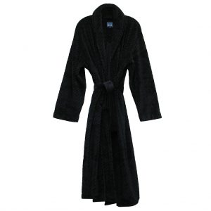 Majestic International Fireside Plush Fleece Shawl Collar Robe, Black