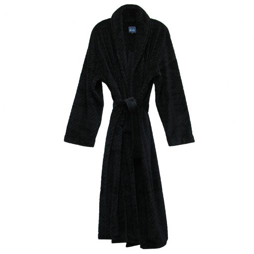 Majestic International Fireside Plush Fleece Shawl Collar Robe, Black