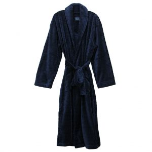 Majestic International Fireside Plush Fleece Shawl Collar Robe, Navy