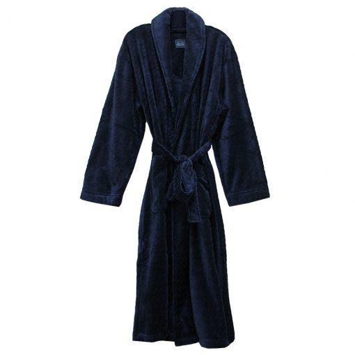 Majestic International Fireside Plush Fleece Shawl Collar Robe, Navy
