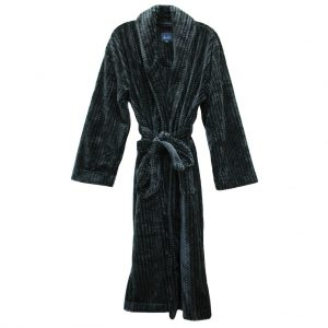 Majestic International Metro Trend Plush Fleece Shawl Collar Robe, Charcoal