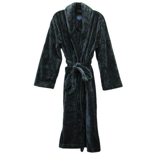 Majestic International Metro Trend Plush Fleece Shawl Collar Robe, Charcoal