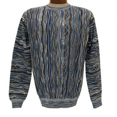 Men's Montechiaro Made in Italy Long Sleeve Merino Wool Blend Textured Crew Neck Sweater #181203 Denim