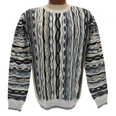 Men's Montechiaro Made in Italy Long Sleeve Merino Wool Blend Textured Crew Neck Sweater #181201 Taupe