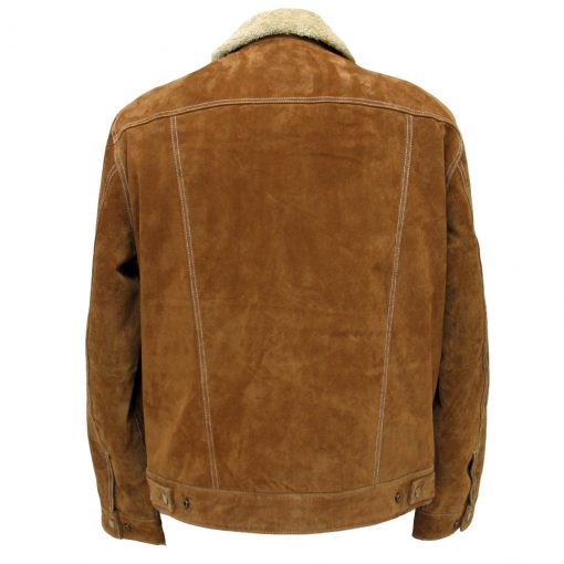 Men's Scully Boar Suede Snap Front Jean Jacket With Knit Inset #1015 Cafe Brown