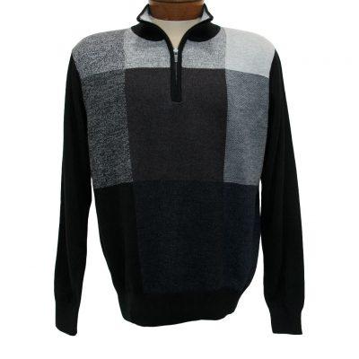 Men's Sweater By F/X Fusion Birdseye Box Pattern Long Sleeve 1/4 Zip Mock Neck #954 Black