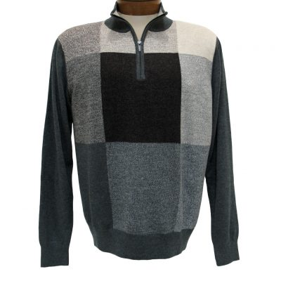Men's F/X Fusion Long Sleeve Birdseye Box Pattern 1/4 Zip Mock Neck Sweater #954 Charcoal Heather