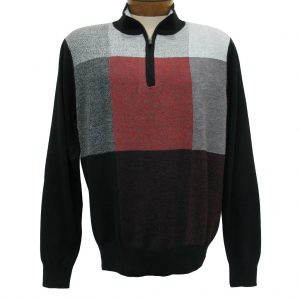 Men's F/X Fusion Long Sleeve Birdseye Box Pattern 1/4 Zip Mock Neck Sweater #954 Port Heather