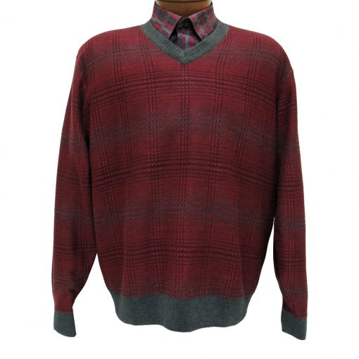 Men's F/X Fusion Long Sleeve Reverse Jacquard V-Neck Sweater #963 Red