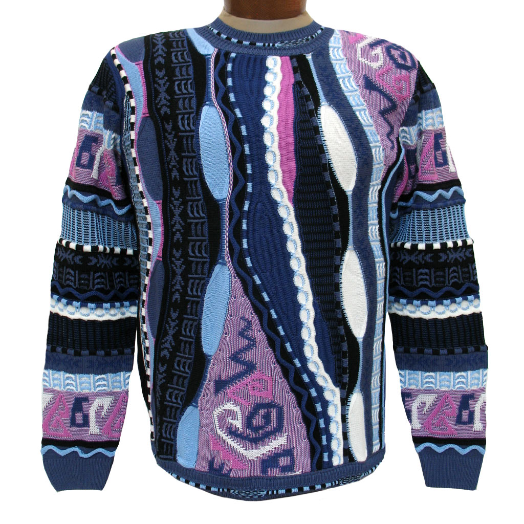 Men's Sweater By LaVane, Original Maker Of The Steven Land Textured Crew Neck Sweater, Made In The USA #166 Slate Blue