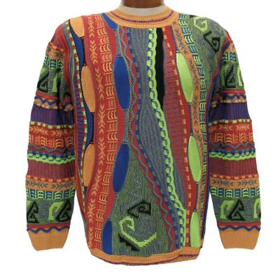 Men's Sweater By LaVane, Original Maker Of The Steven Land Textured Crew Neck Sweater, Made In The USA #167 Tangerine