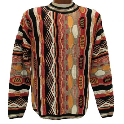 Men's Sweater By LaVane, Original Maker Of The Steven Land Textured Crew Neck Sweater, Made In The USA #168 Rust