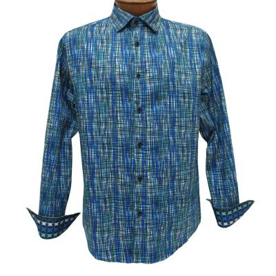 Men's Vincent D'Amerique 100% Cotton Artistic Print Long Sleeve Sport Shirt With Contrast Trim #121209 Marine