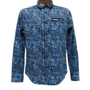 Men's Vincent D'Amerique 100% Cotton Pixel Print Long Sleeve Sport Shirt With Contrast Trim #121213 Black/Purple (XXL, ONLY!)