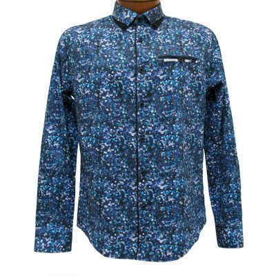 Men's Vincent D'Amerique 100% Cotton Pixel Print Long Sleeve Sport Shirt With Contrast Trim #121213 Black/Purple