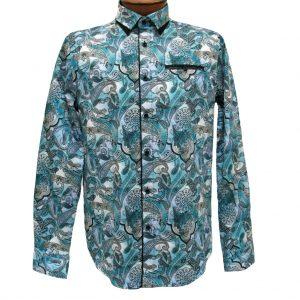 Men's Vincent D'Amerique 100% Cotton Cashmere Print Long Sleeve Sport Shirt With Contrast Trim #121198 Teal (XXL, ONLY!)