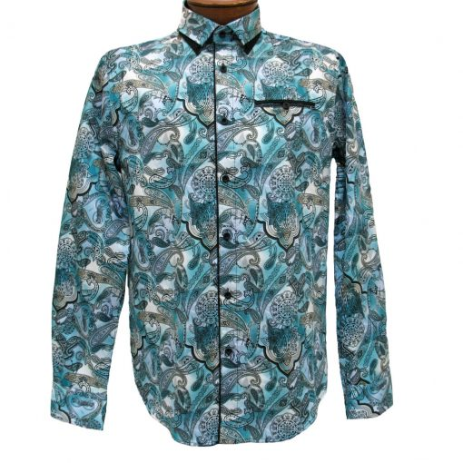 Men's Vincent D'Amerique 100% Cotton Cashmere Print Long Sleeve Sport Shirt With Contrast Trim #121198 Teal