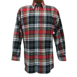 Men's Woodland Trail By Palmland Long Sleeve 100% Cotton Plaid Flannel Shirt #5900-400 Black