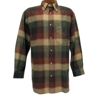 Men's Woodland Trail By Palmland Long Sleeve 100% Cotton Plaid Flannel Shirt #5900-403 Mocha
