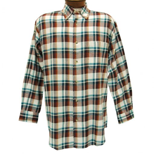Men's Woodland Trail By Palmland Long Sleeve 100% Cotton Plaid Flannel Shirt #5900-405 Khaki