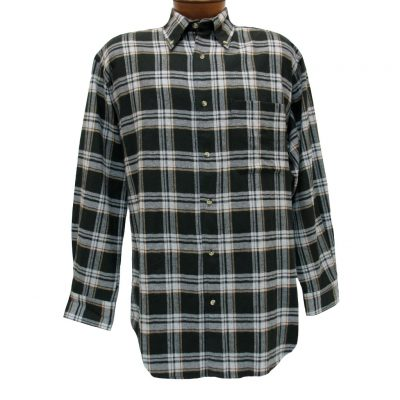Men's Woodland Trail By Palmland Long Sleeve 100% Cotton Plaid Flannel Shirt #5900-407 Black