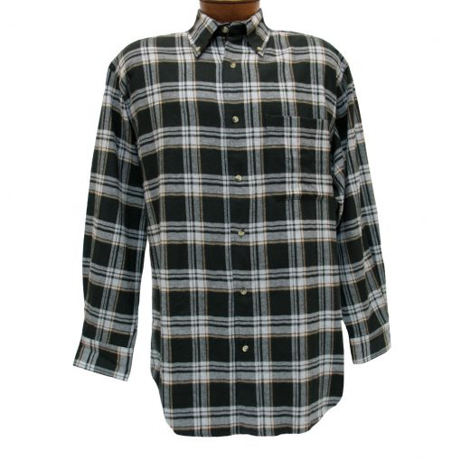Men's Woodland Trail By Palmland Long Sleeve 100% Cotton Plaid Flannel Shirt #5900-407 Black