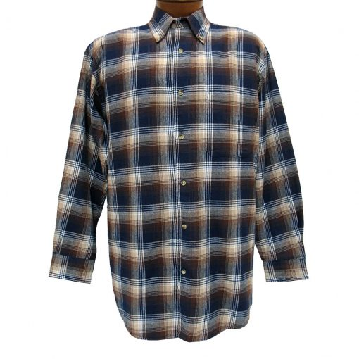 Men's Woodland Trail By Palmland Long Sleeve 100% Cotton Plaid Flannel Shirt #5900-409 Navy