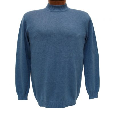 Men's LaVane Long Sleeve Cotton Blend Mock-Neck Pullover #501, Blue Heather