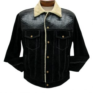 Men's Scully Boar Suede Snap Front Jean Jacket With Knit Inset #1015 Black (XL, ONLY!)